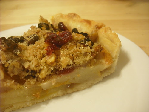 Ginger-Pear Tart with Cranberries and Walnuts