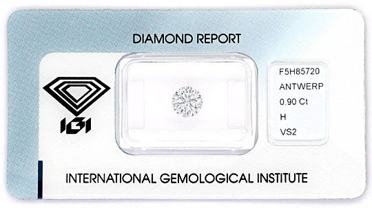Original-Foto 1, DIAMANT 0,90ct BRILLANT IGI WESSELTON WEISS VS EX EX VG, D6164