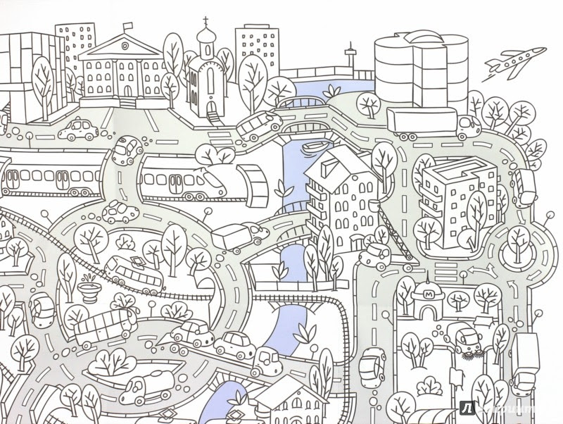 Иллюстрация 2 из 53 для Город. Раскраска-плакат   Лабиринт - книги. Источник: Лабиринт
