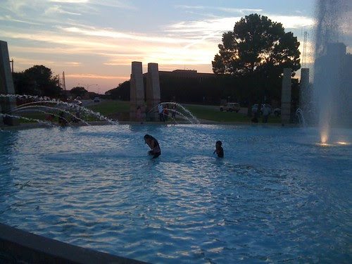 Kids in the fountain