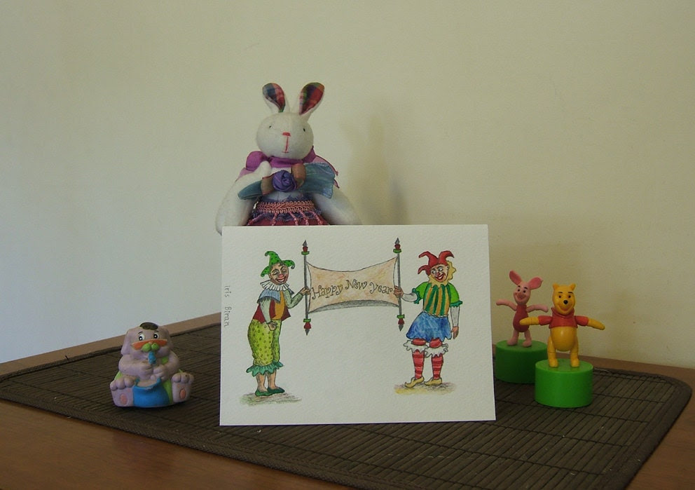 """Original illustrated greeting card - """"Happy New Year"""" clowns"""