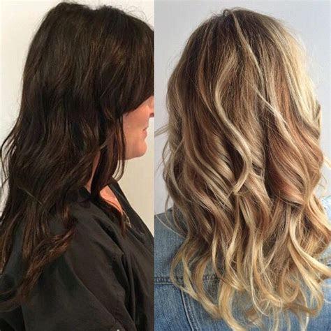 dark  light hair    blonde hair balayage