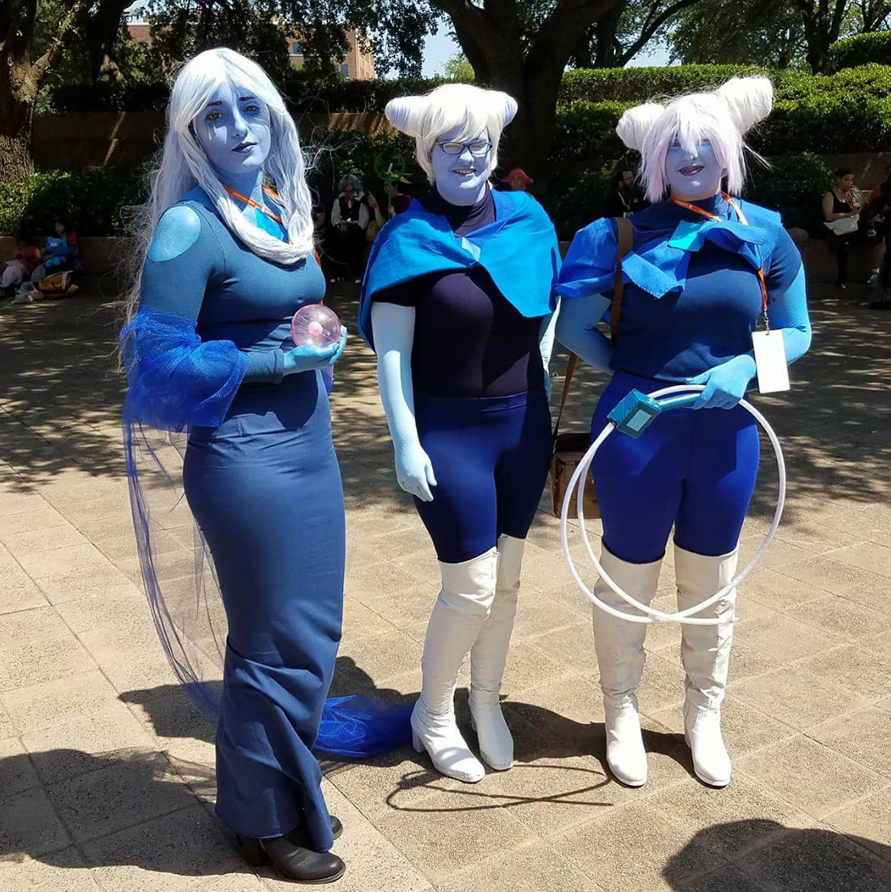 """Here's my Holly Blue cosplay~ Sorry I don't have any """"fun"""" pictures. I was beyond hot and exausted. The pics of me in front of the fountain are after I changed out of my good boots, but my feet hurt..."""