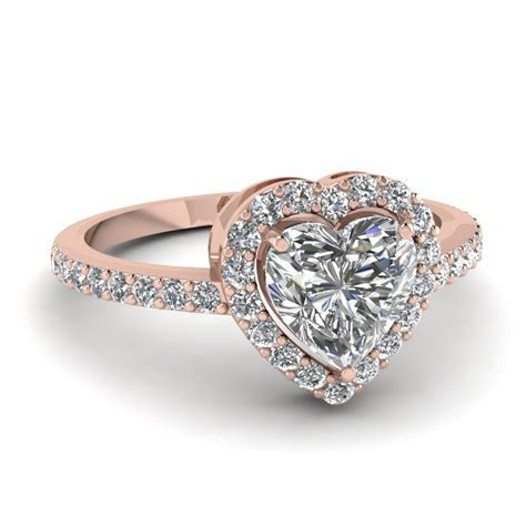 Heart Shaped Halo Diamond Engagement Ring In 14K Rose Gold