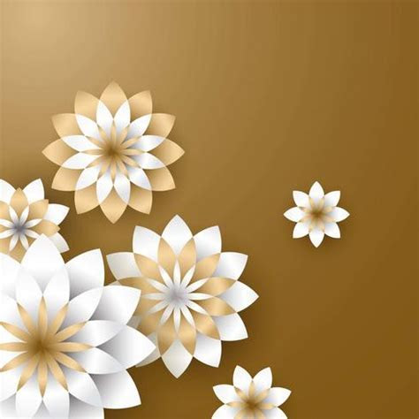 3d Flower Paper Craft Gold Vector   Download Free Vector