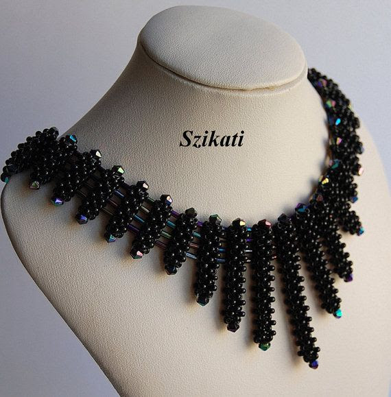 Szikati Black Seed Bead Bib Necklace