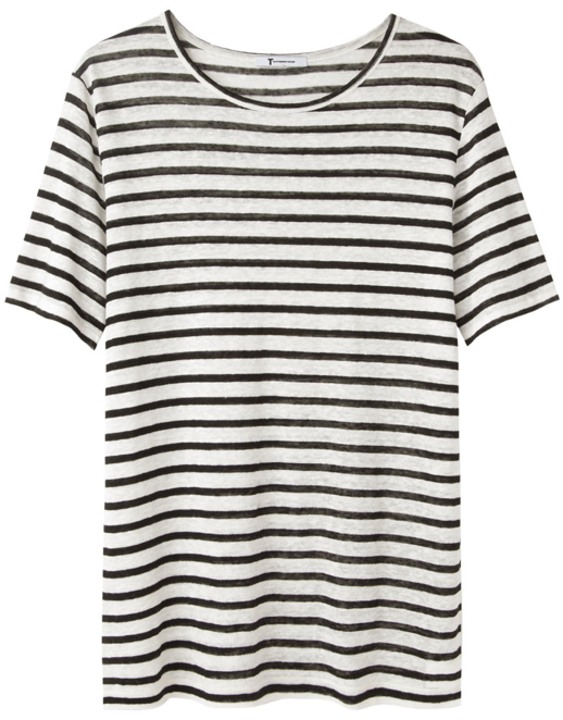 LE FASHION BLOG THE PERFECT BLACK  WHITE STRIPE STRIPED TEE TSHIRT SHIRT TOP T BY ALEXANDER WANG LINEN AND SILK STRIPES SHORT SLEEVE