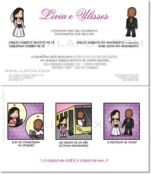 Convite personalizado, historia em quadrinhos, convite em tirinhas, namoro a distancia, by ila fox