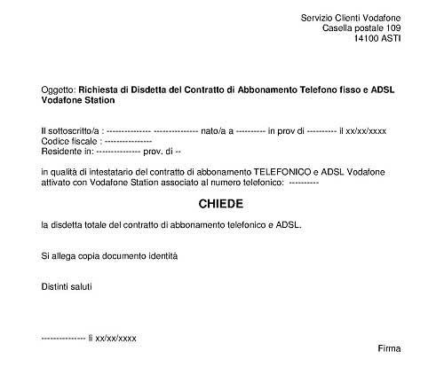 MODULO DISDETTA VODAFONE ADSL SCARICARE