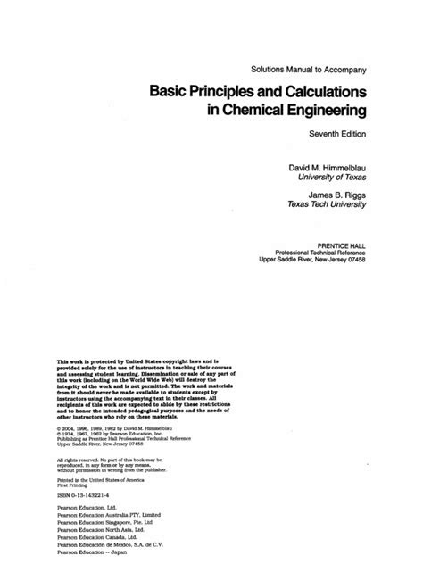 Solution Manual Basic Principles & Calculations in