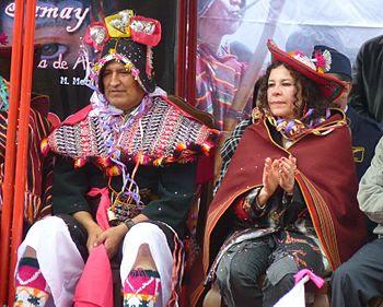 Evo Morales and Cultures Minister Elizabeth Sa...