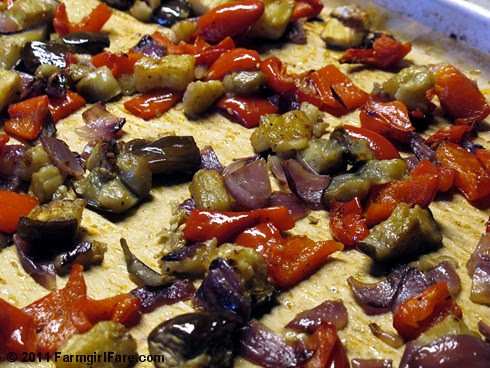 Easy Roasted Eggplant with Red Onion and Sweet Red Peppers 1 - FarmgirlFare.com