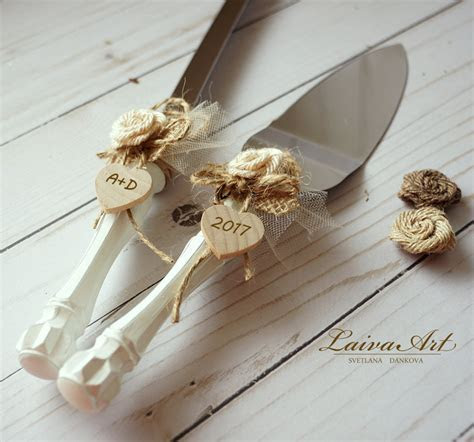 Cake Server Set & Knife Rustic Wedding Cake Cutting Set