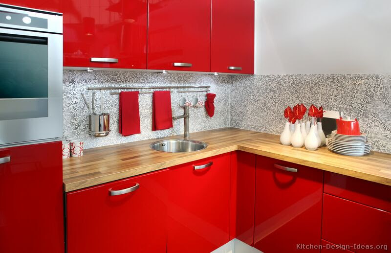 Pictures of Kitchens - Modern - Red Kitchen Cabinets