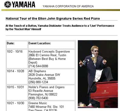 Elton John's red piano on tour ... all by itself!
