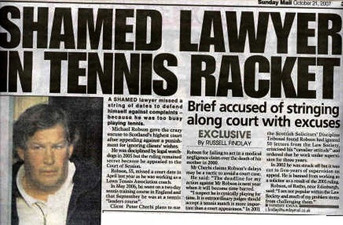 Shamed Lawyer in Tennis Racket Sunday Mail 21 October 2007