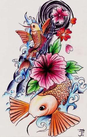Japanese Flowers And Fish Leg Tattoo