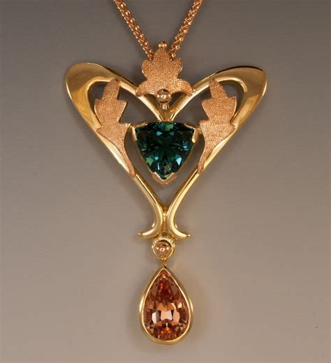 Blue Tourmaline, Imperial Topaz Pendant, 18K Yellow Gold