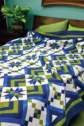 "Star Gazing: Spectacular queen quilt features dynamic blocks in a creative setting.    Designed by: Judy Laquidara • patchworktimes.com    Skill Level: Intermediate    Technique: Piecing    Size: Queen, 90"" x 103""    Appears in Quiltmaker May/June '12."