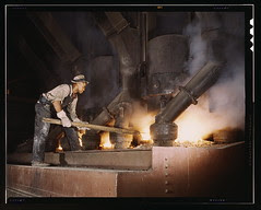 Electric phosphate smelting furnace used to make elemental phosphorus in a TVA chemical plant in the vicinity of Muscle Shoals, Alabama (LOC)