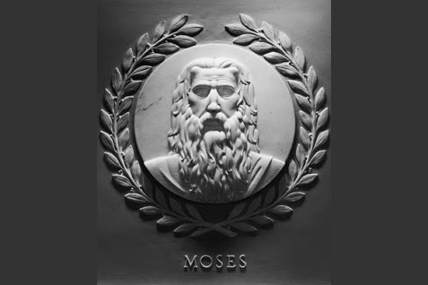Marble relief of Moses by artist Jean de Marco in U.S House of Representatives Chamber at the U.S. Capitol building.