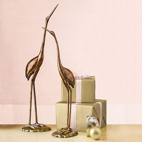 bronze crane statues