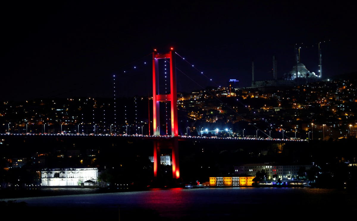 Protesters were apparently killed as they were attempting to cross Istanbul's Bosphorus bridge in protest. Here's a general view of the bridge.