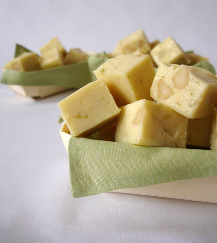 Lime fudge with macadamia nuts