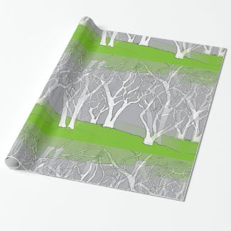White Trees Design on Wrapping Paper -All Occasion