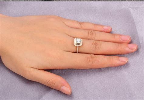 Lovely Halo Wedding Ring 1.00 Carat Princess Cut Diamond