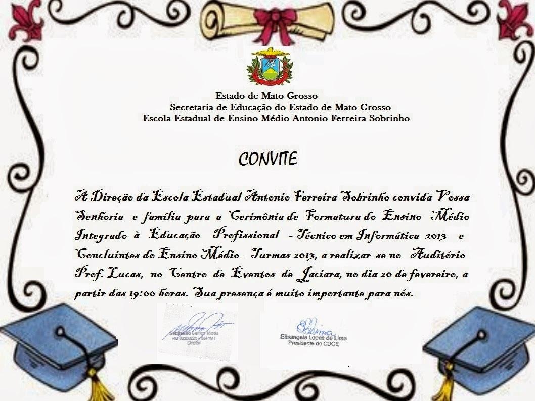 Modelos De Convites De Formatura De Ensino Médio