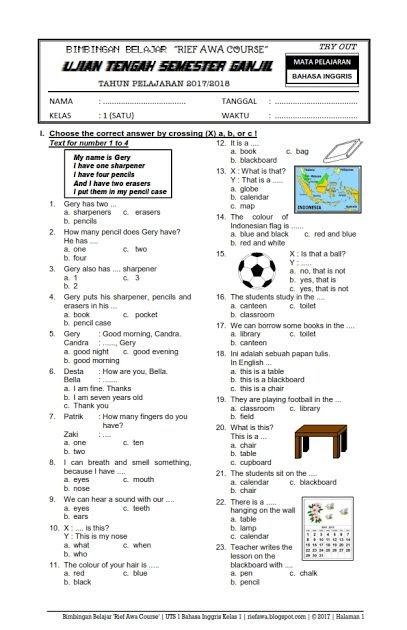 Contoh Soal Uts Kelas 5 Semester 1