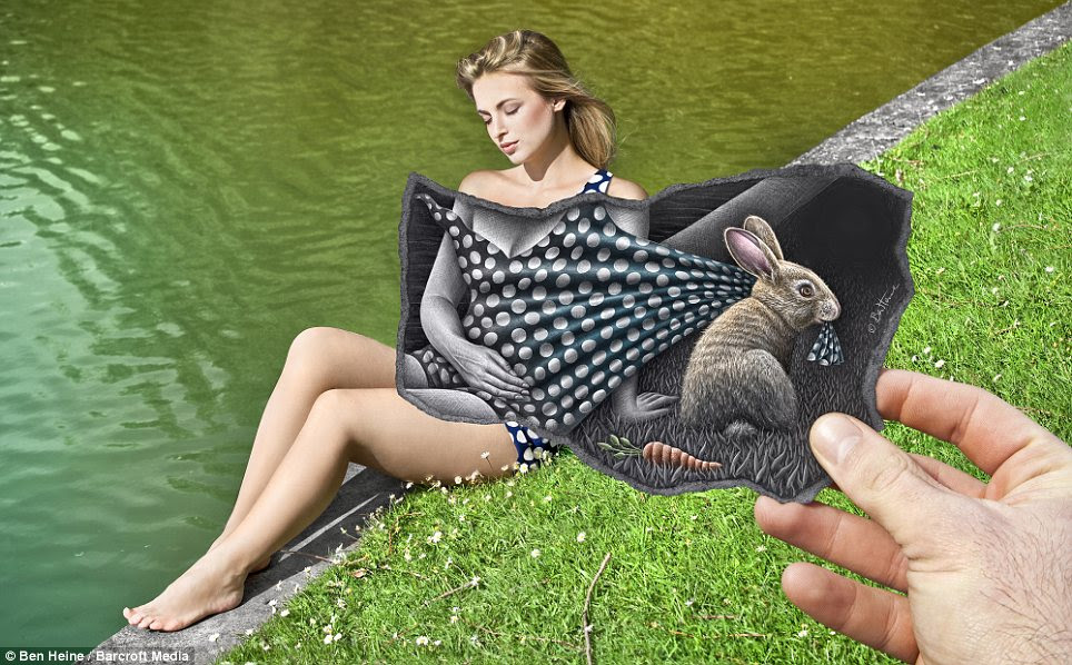 A fine line: A blonde has her polka dot dress tugged at by a bunny rabbit