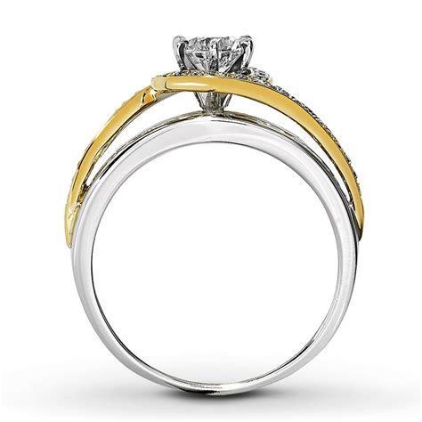 Designer White and Yellow Gold Round Diamond Engagement