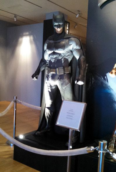 The Dark Knight costume worn by Ben Affleck in BATMAN V SUPERMAN: DAWN OF JUSTICE...as seen at Warner Bros studio on September 8, 2015.