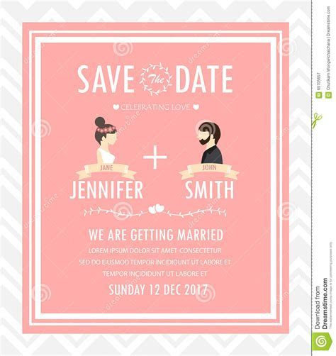 Hipster Wedding Invitation Card, Vector Stock Vector
