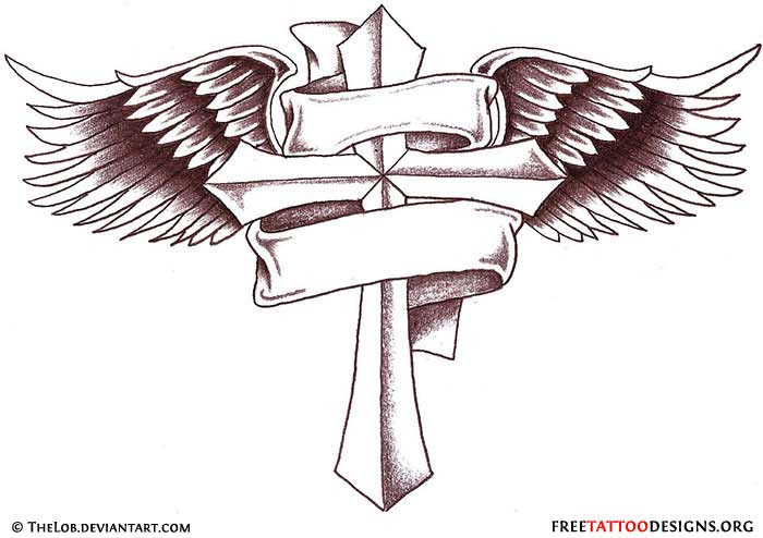 Cross Wings Tattoo Design With Banner
