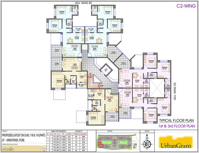 C2 1st & 3rd Floor - 2 BHK Flat for Rs. 25 Lakhs at Urbangram Kirkatwadi on Sinhagad Road Pune 411 024