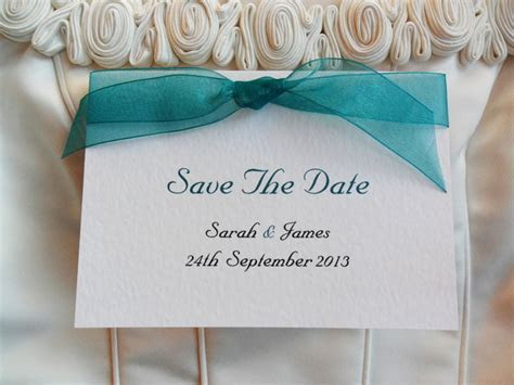 Top Ribbon Save The Date Cards   Wedding Stationery