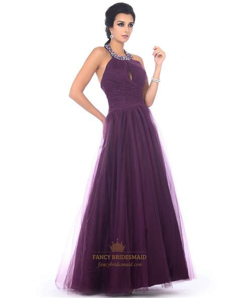 Grape Jeweled Halter Top Keyhole Pleated Tulle Prom Dress