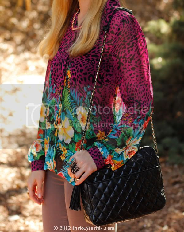 tropical print blouse, J Brand skinny jeans, Los Angeles fashion blog