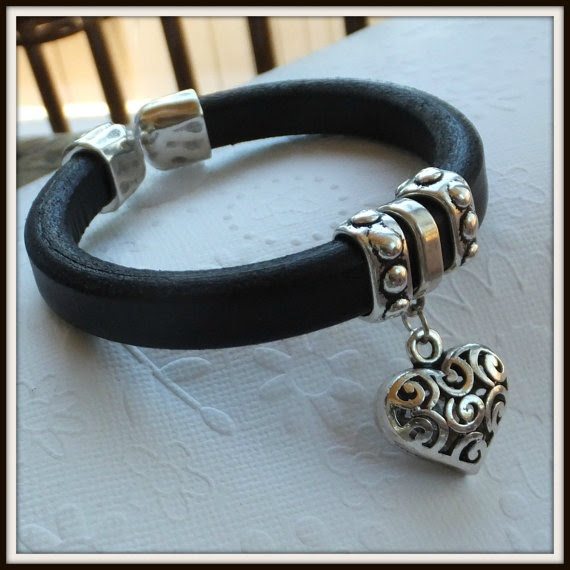 Black Regaliz regaliz leather bracelet Heart by LucilleParenteau, $35.00
