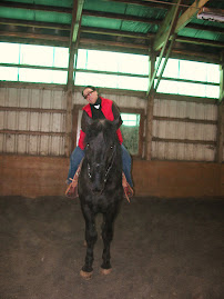 Mom riding Deisel in the Wallingford ring