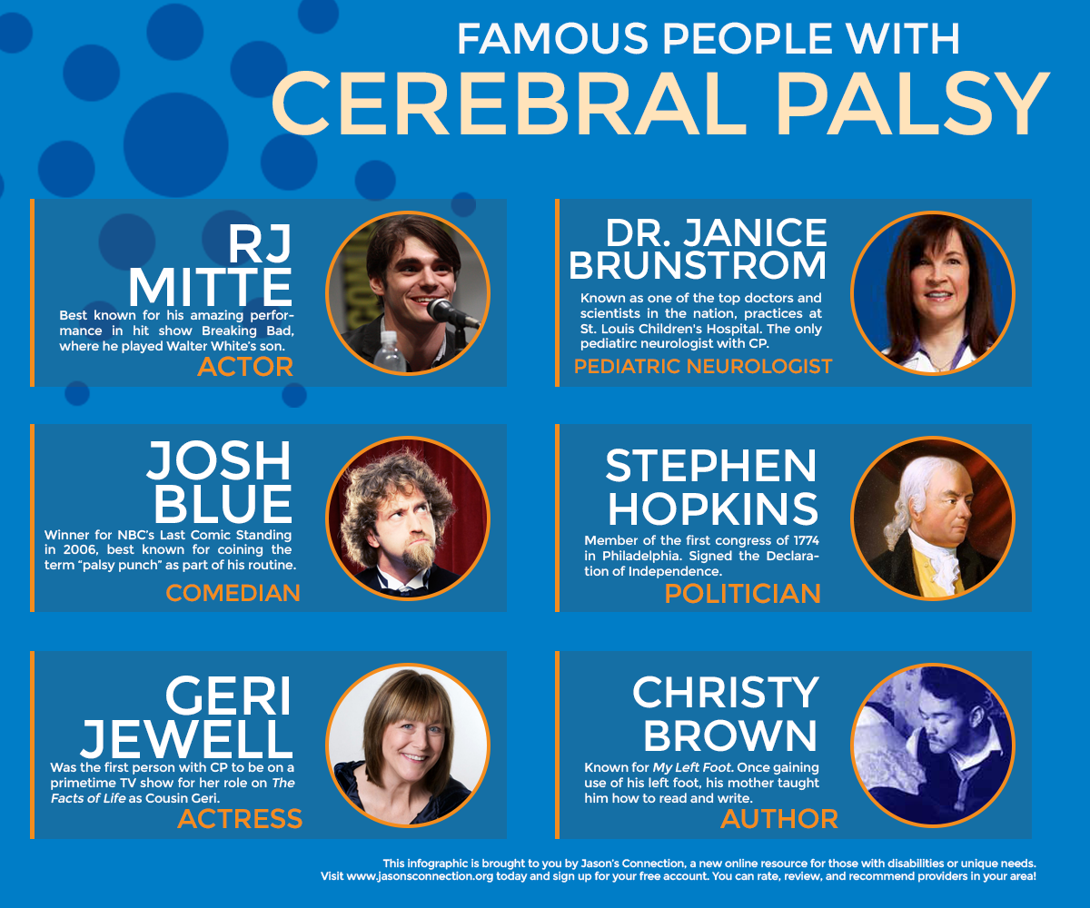 Six Famous People with Cerebral Palsy Infographic Jason