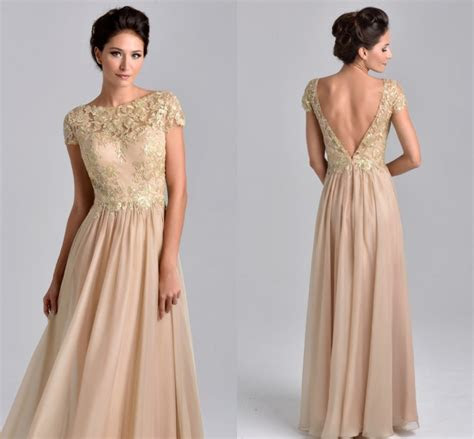 Elegant Short Sleeve Champagne Mother of the Bride Dresses