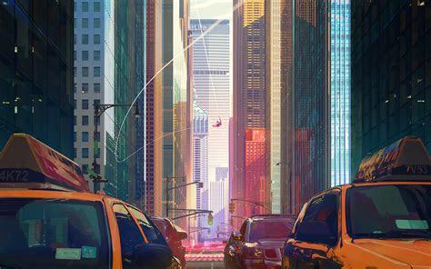wallpaper  comics spider man poster ny city