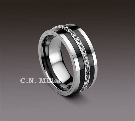 Tungsten Carbide Rings with black Diamonds   Eternity