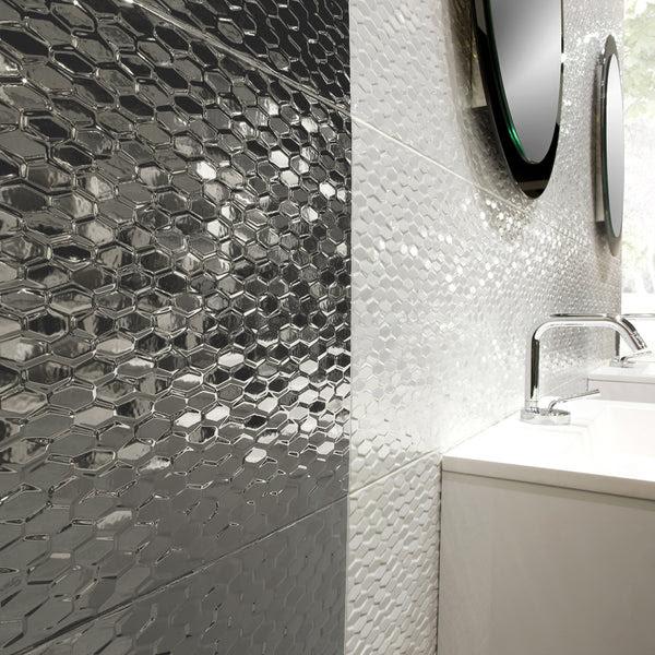 "ARTWORK - 12"" X 35"" Wave Pattern Glazed Ceramic Wall Tile ..."