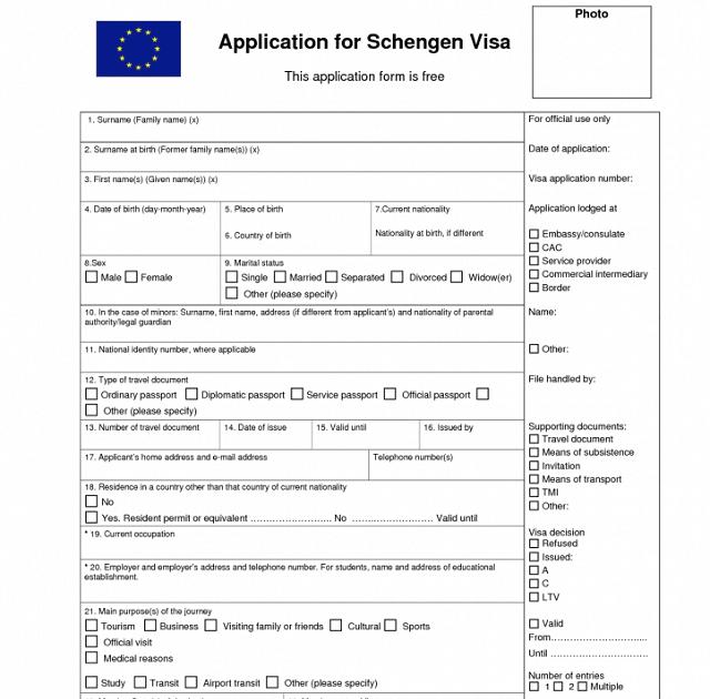 Online Schengen Visa Application Form For Switzerland on