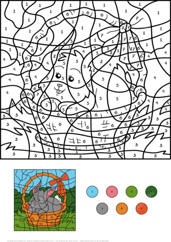easter rabbit in the basket colornumber  free printable coloring pages